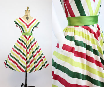 1950s chevron dress xs | cotton striped dress | new in
