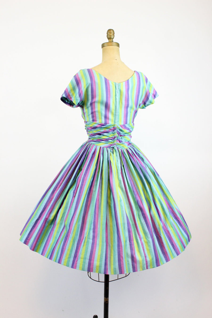 1950s Jonathan Logan dress small | vintage documented striped cotton dress | new in