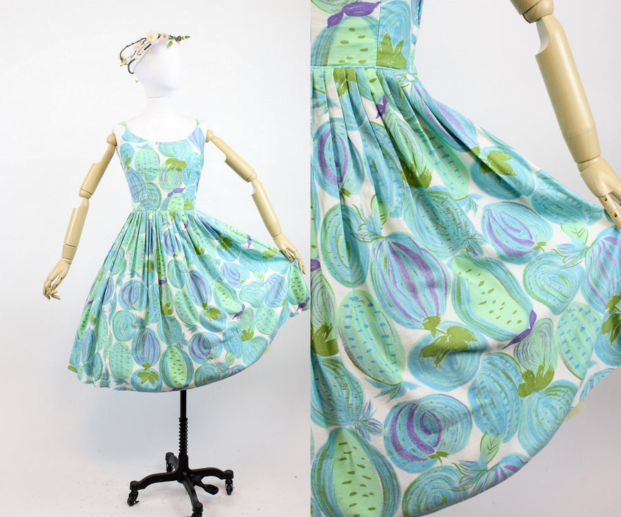 1950s cotton novelty print dress xs | vintage sun dress fruit and veges