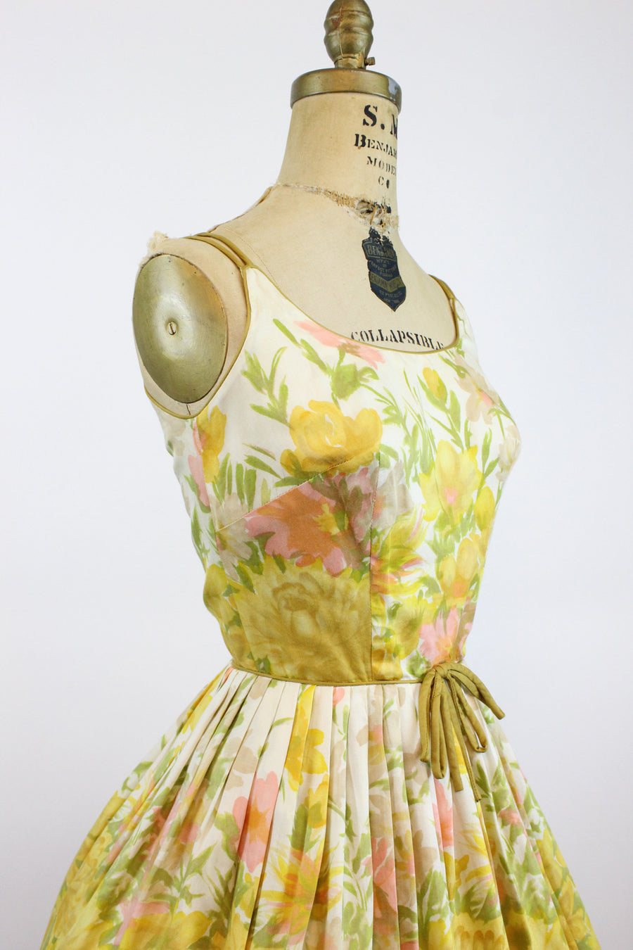 1950s watercolor floral cotton dress xs | vintage sun dress pat nichols miami | xs