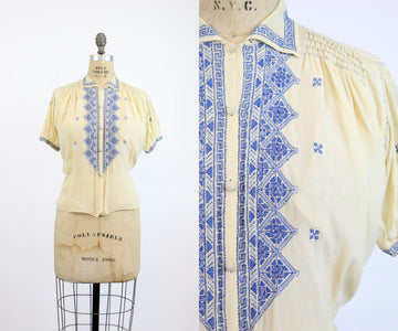 1920s embroidered hungarian blouse large | vintage morrocan blue top | new in