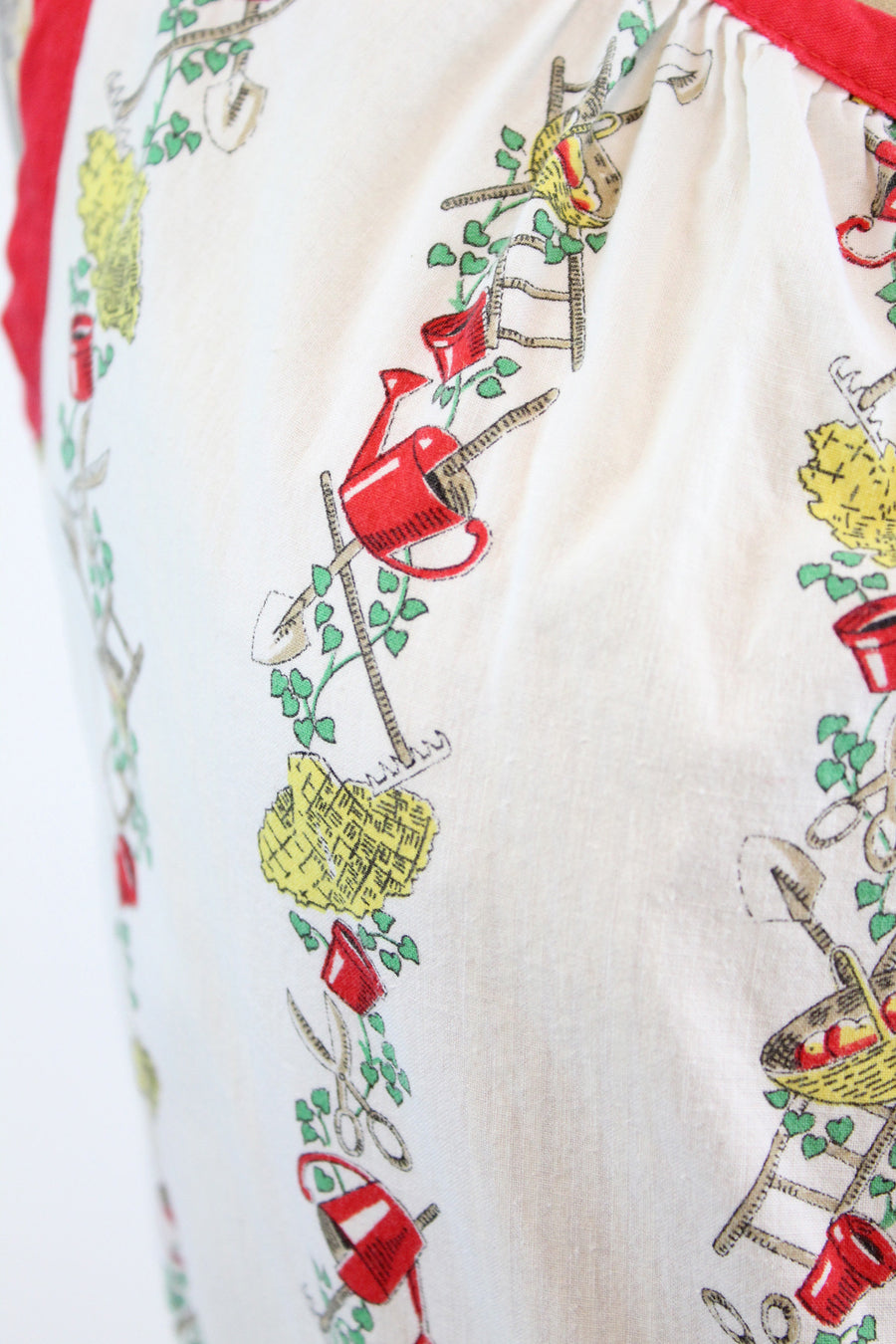 1940s garden print cotton dress | vintage novelty print dress | medim large