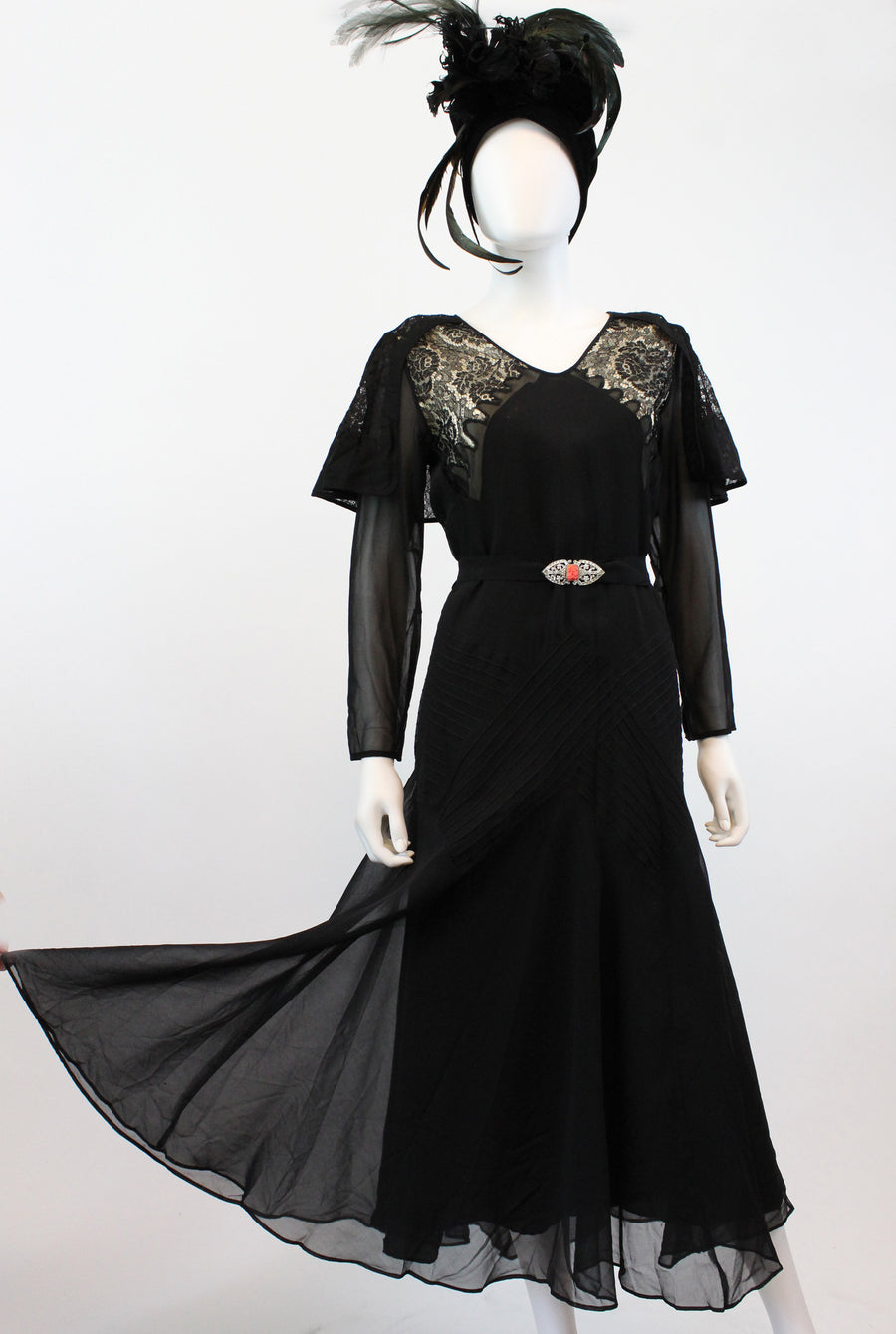 1930s PRISTINE silk and lace fluted hem dress large volup | belted 1920s gown | new in