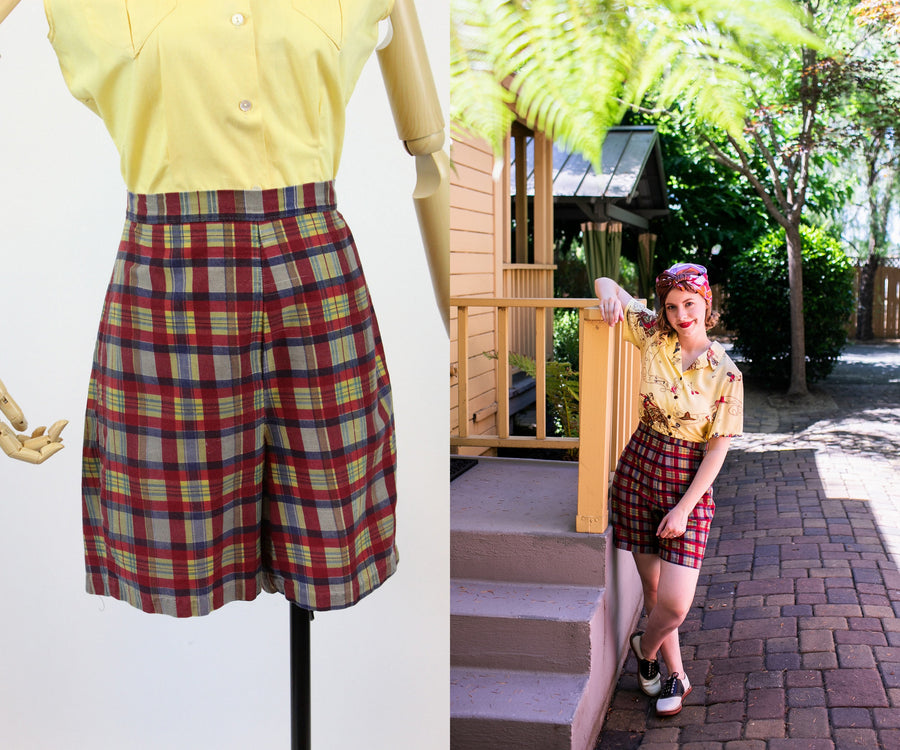 1950s madras shorts small | vintage cotton plaid shorts