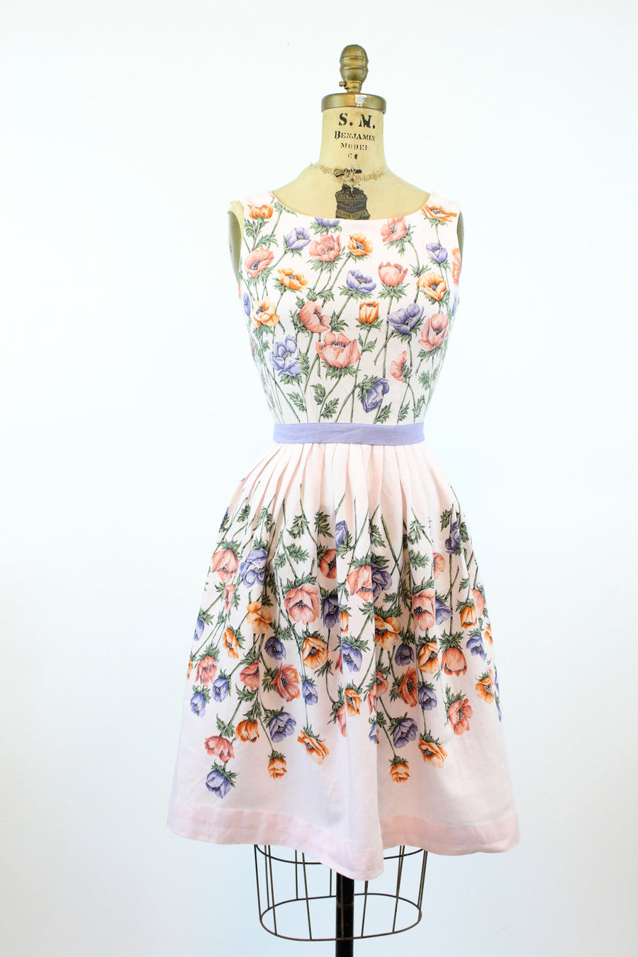 1950s John Wolf anemone print dress xs | vintage cotton pique novelty print | new in