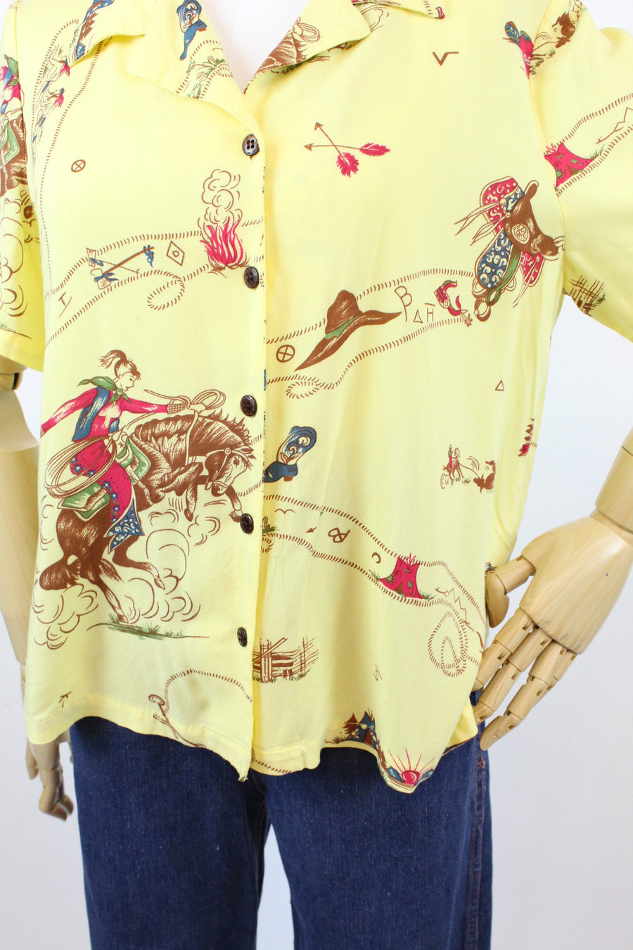 1940s novelty rayon blouse medium  | vintage cowgirl print top