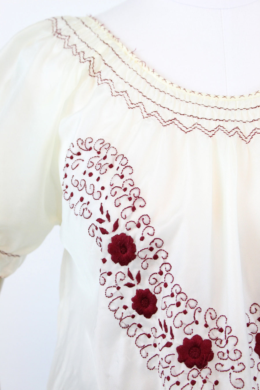 1940s rayon embroidered hungarian blouse small medium | vintage top | new in