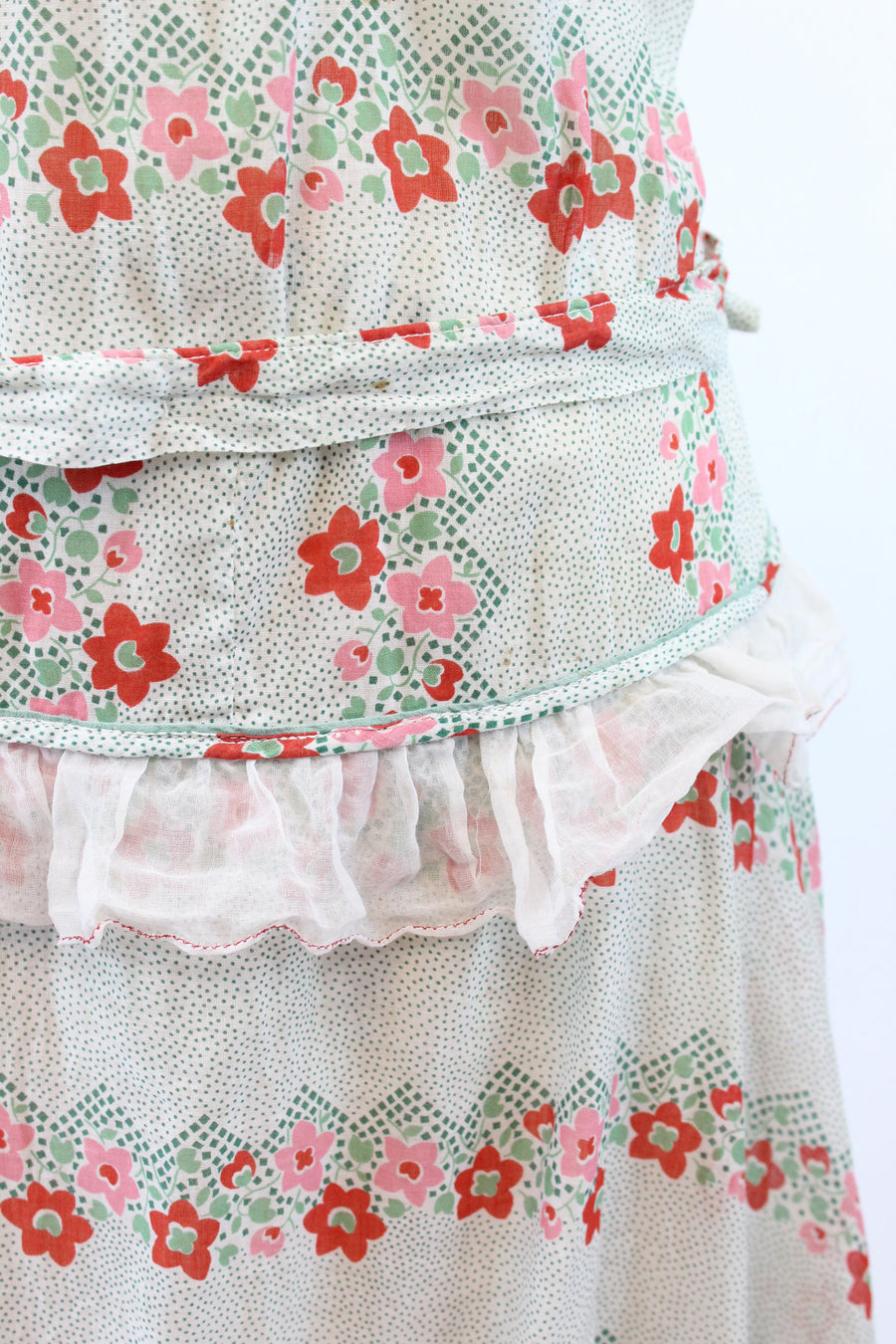 1920s cotton day dress xs small | vintage floral dropwaist dress
