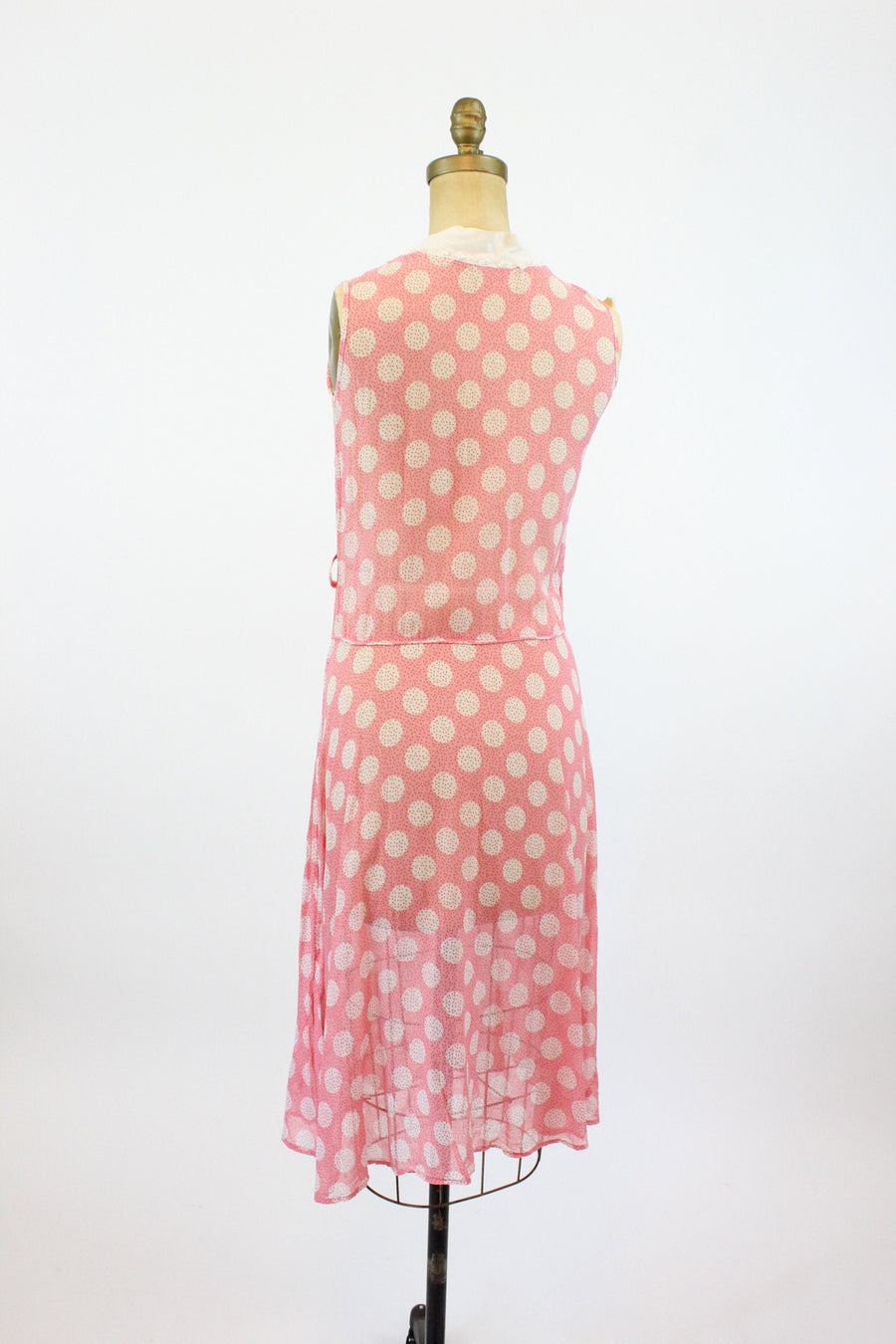 1920s cotton bow dress xs small | vintage floral polka dot day dress