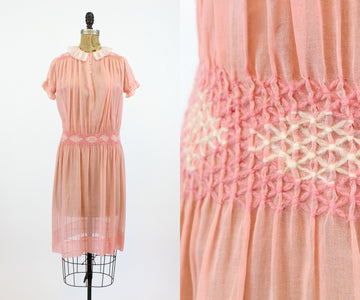 1920s cotton day dress xs small | vintage smocked dropwaist dress