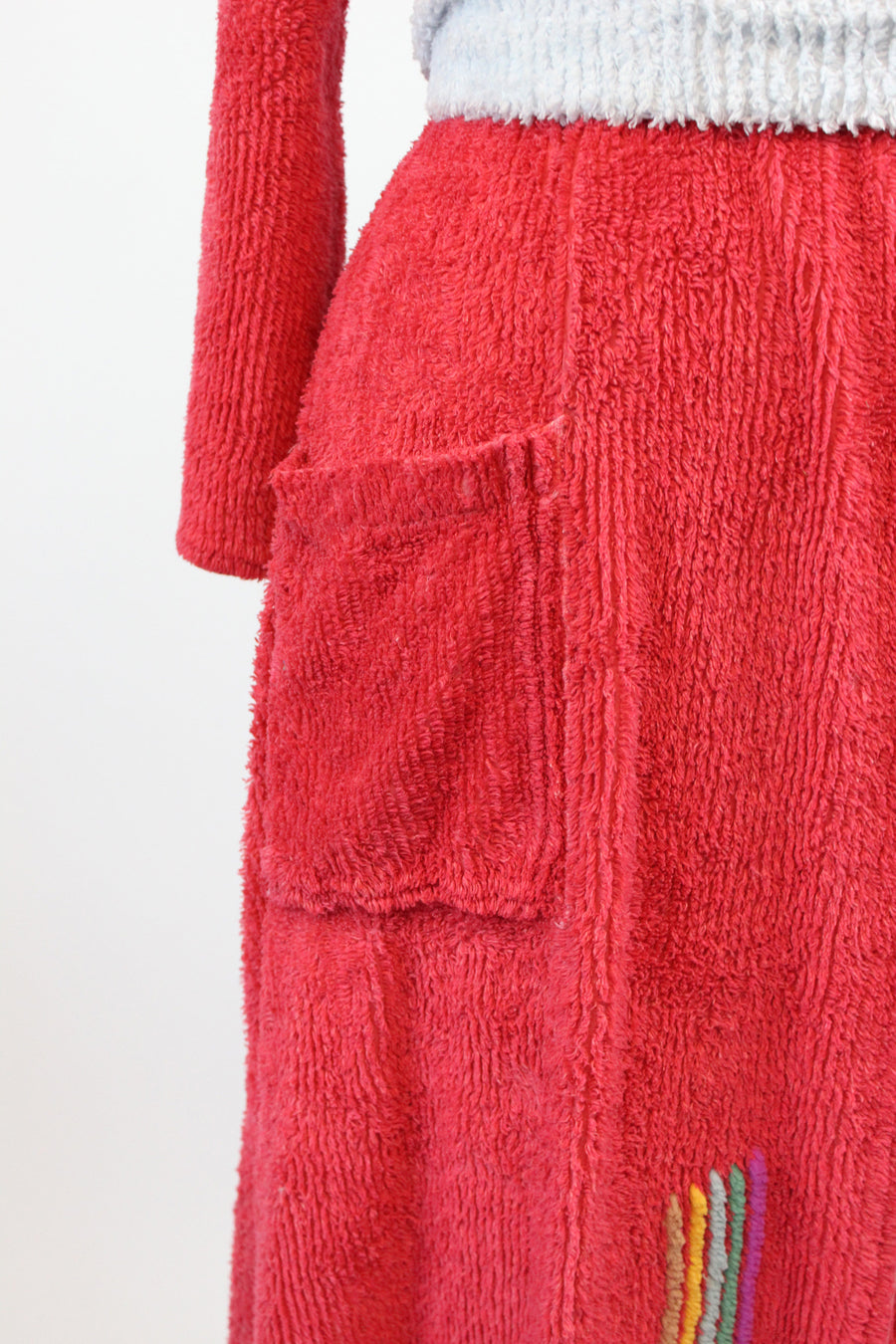 1940s chenille beach cover up  |  vintage wrap long robe |  small medium large