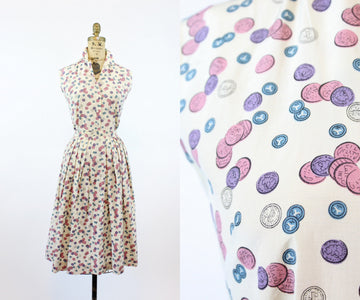 1950s coin print set dress xs | Rhoda Lee novelty print blouse and skirt | new in