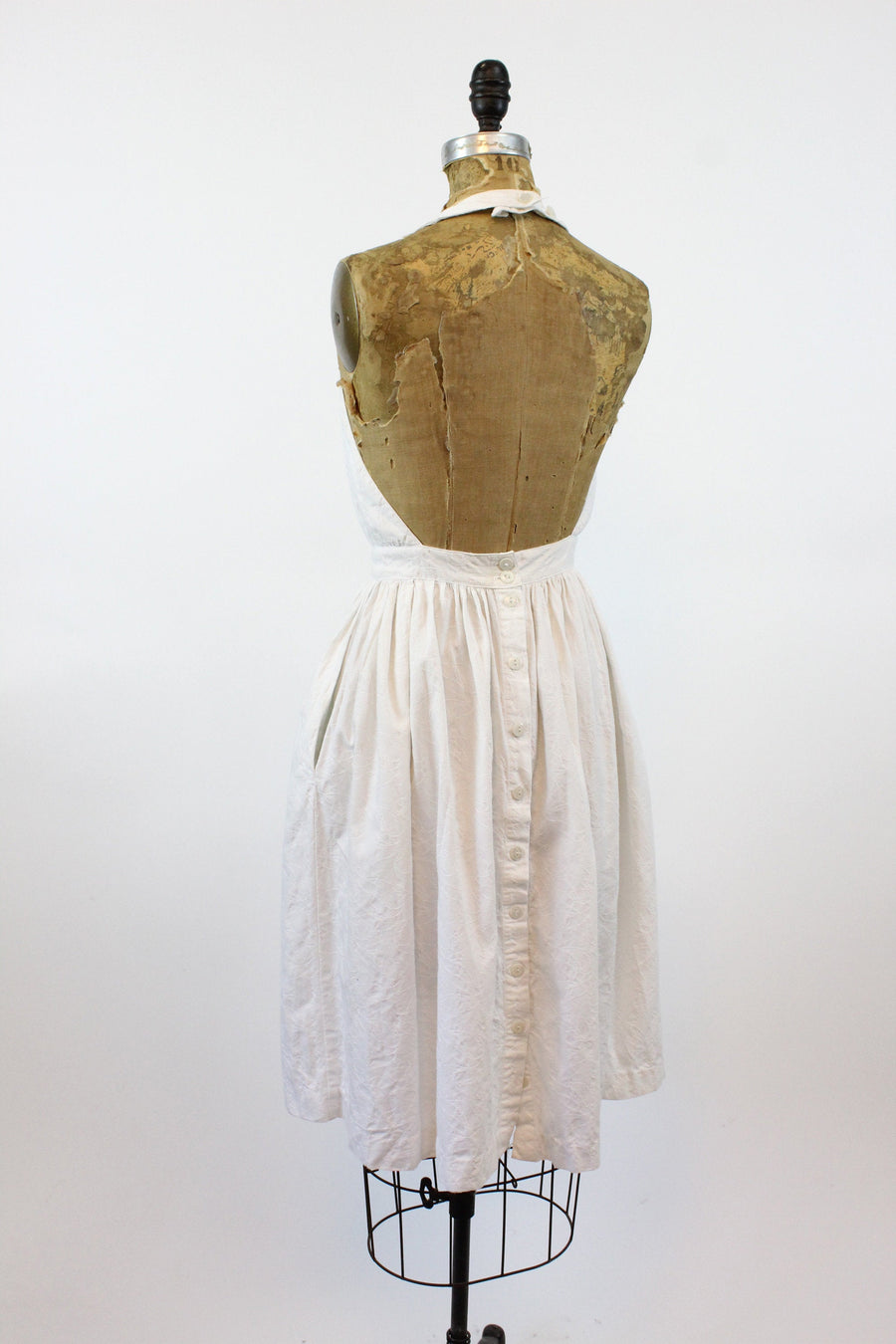 1960s cotton halter dress xs | vintage embossed backless dress | new in