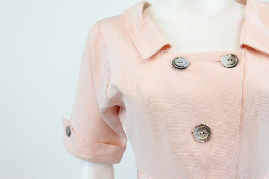 1940s Doris Dodson dress | vintage pale pink belted dress  | xs new in
