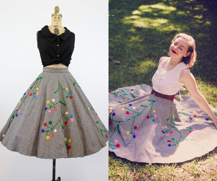 1950s checked embroidered skirt xs | vintage circle skirt | new in