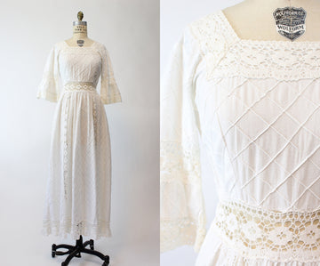 1960s white maxi dress wedding xs small | vintage white cotton and lace dress