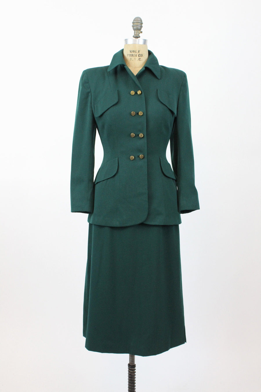 1940s hunter green wool suit small | vintage fitted jacket and skirt | new in