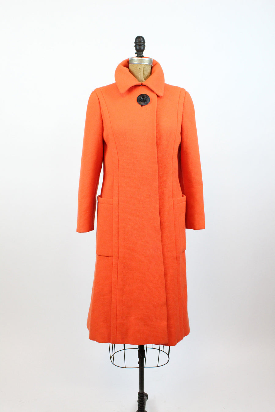 1960s Pauline Trigere orange wool coat small | vintage coat new in