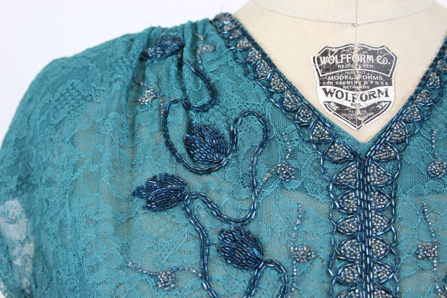 1940s turquoise beaded lace gown medium large | vintage rayon gown | new in