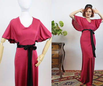1970s foxy lady angel sleeve dress small medium  | vintage raspberry gown | new in