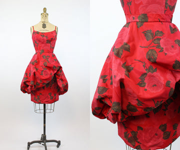 1950s rose print dress xs | vintage bubble hem dress | new in