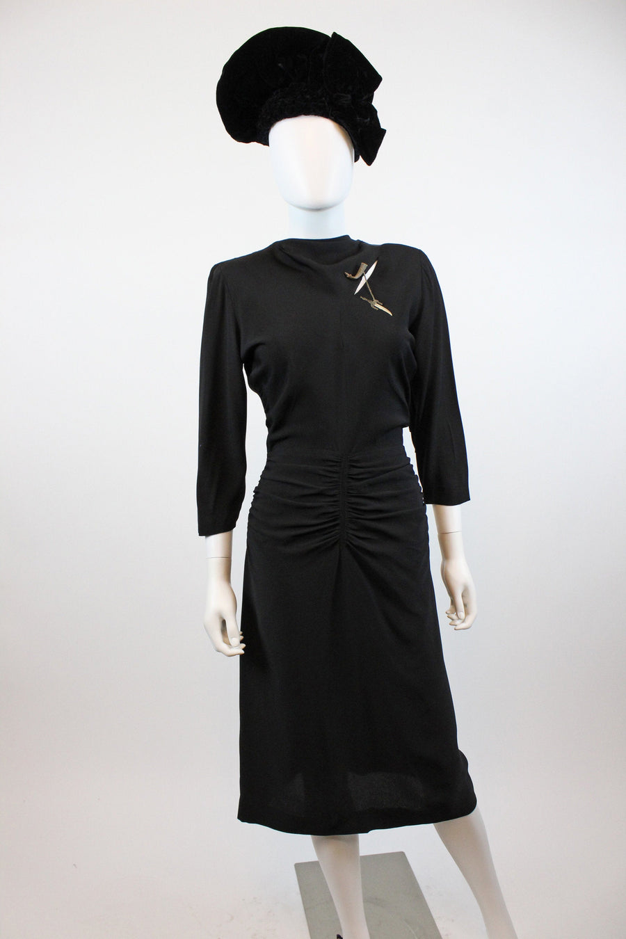 1940s slash ruched dress small | vintage rayon dress | new in