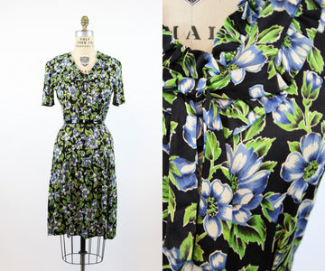 1930s rayon jersey anemone print dress small  | vintage floral dress | new in