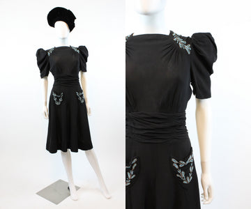 1930s 1940s beaded puffed sleeve dress xs  | vintage rayon dress | new in