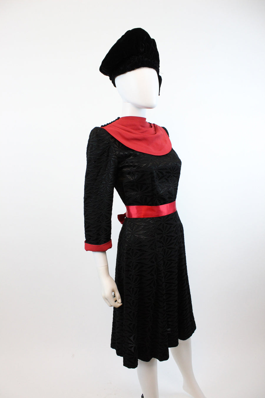 1940s draped cowl dress embroidered dress small | vintage rayon dress | new in