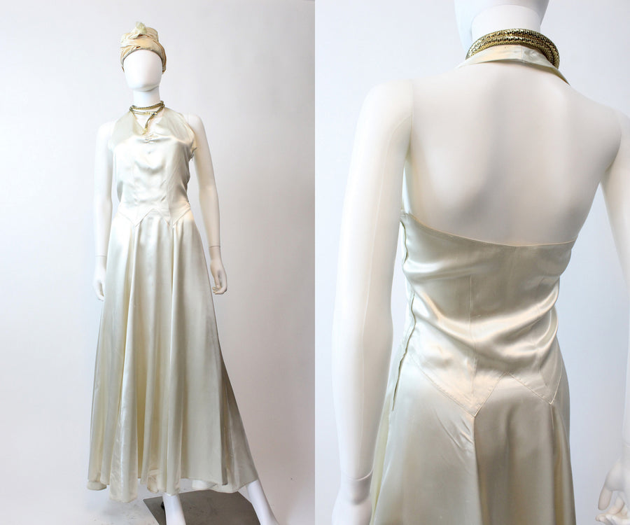 1930s 1940s liquid silk halter dress xs | vintage wedding dress | new in