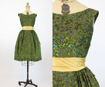 1960s Lorrie Deb flocked dress xs | vintage burn out velvet dress