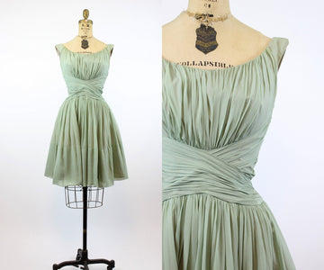 1950s SAKS FIFTH AVE silk chiffon dress xs | vintage wasp waist full skirt | new in