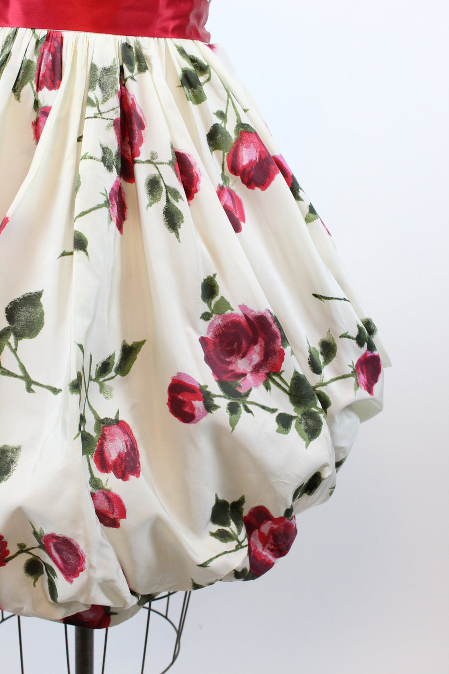 1950s rose print dress medium | vintage bubble hem dress | new in