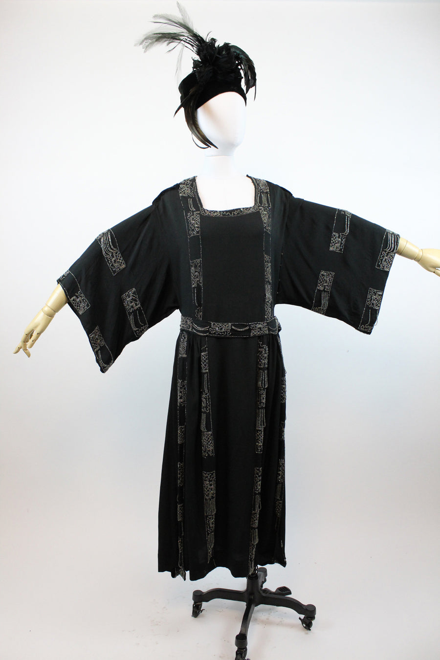 1920s silk beaded kimono sleeve dress small | vintage asian inspired dress | new in