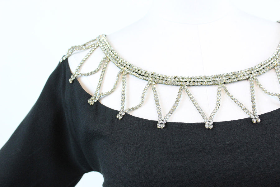 1960s rhinestone necklace dress small | vintage wiggle dress | new in