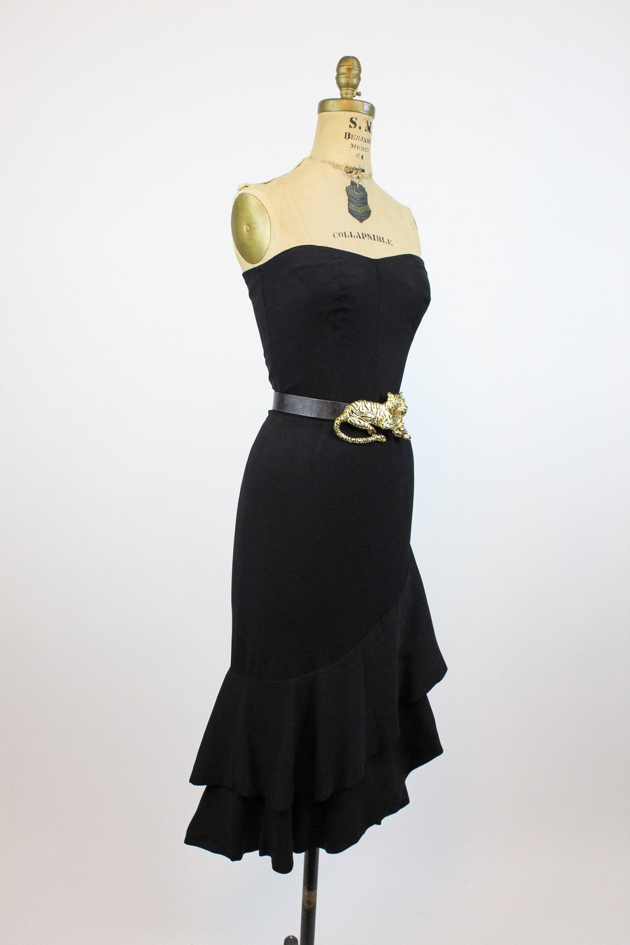 1960s strapless fitted dress xxs | vintage tiered hem skirt | new in