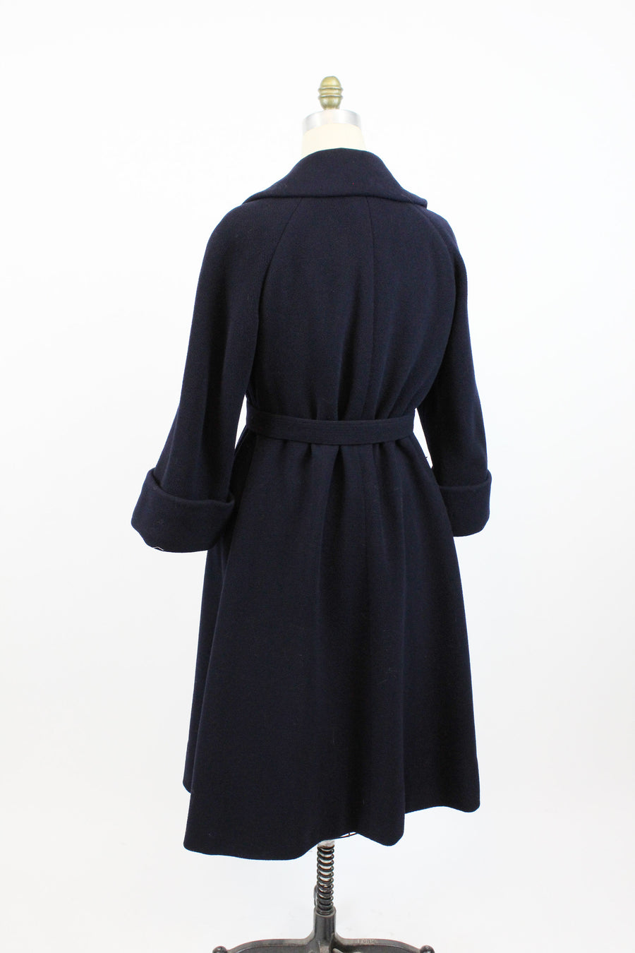 1950s TEAL TRAINA navy wool trenchcoat large | new in