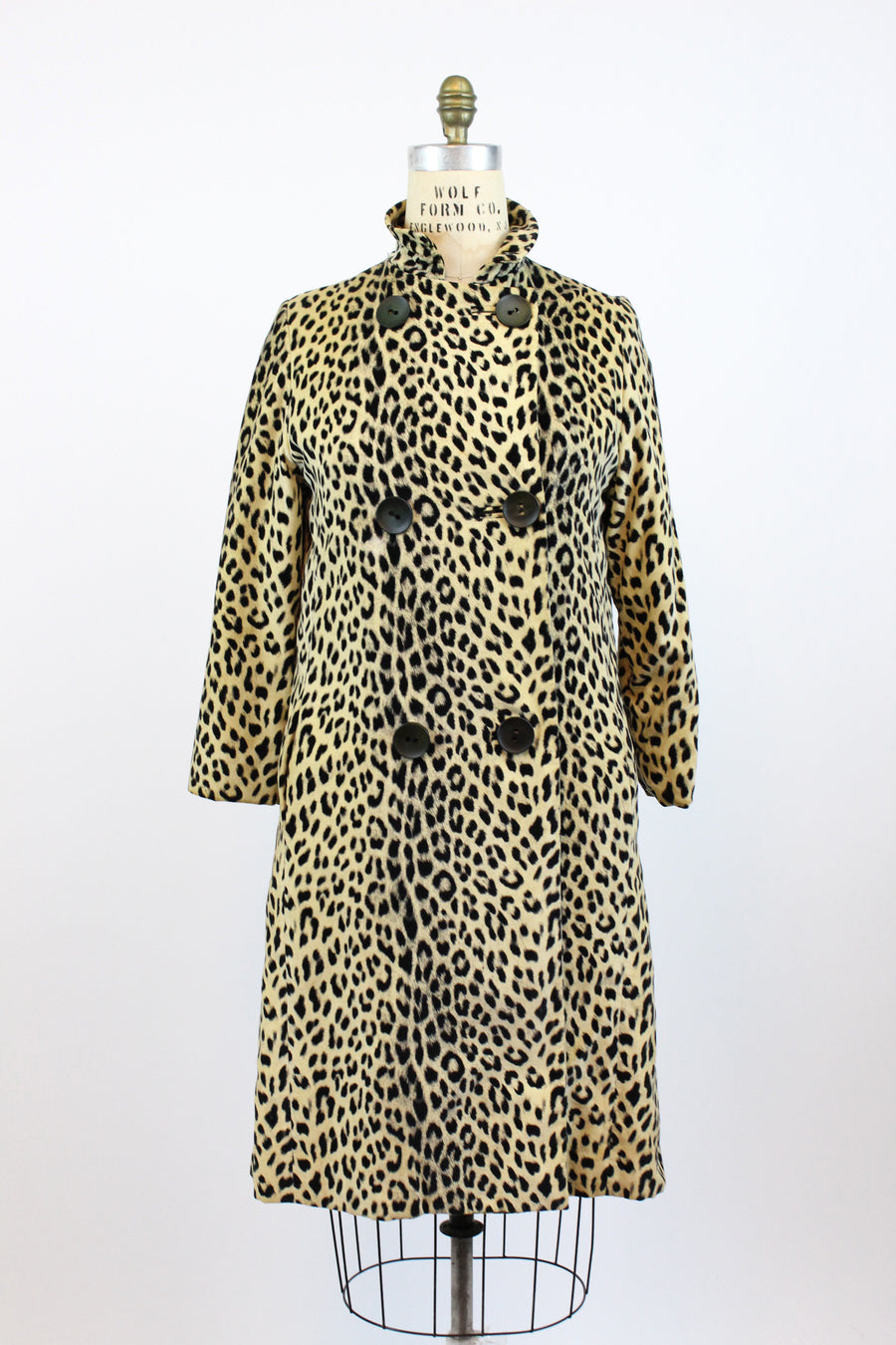 1960s ELIZABETH ARDEN leopard velvet coat medium | new fall