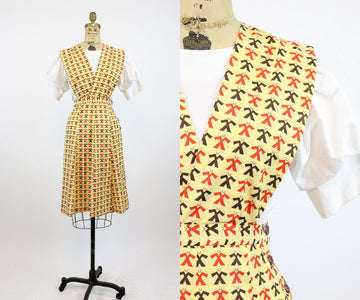 1950s SAILOR print novelty pinafore dress xs | new spring