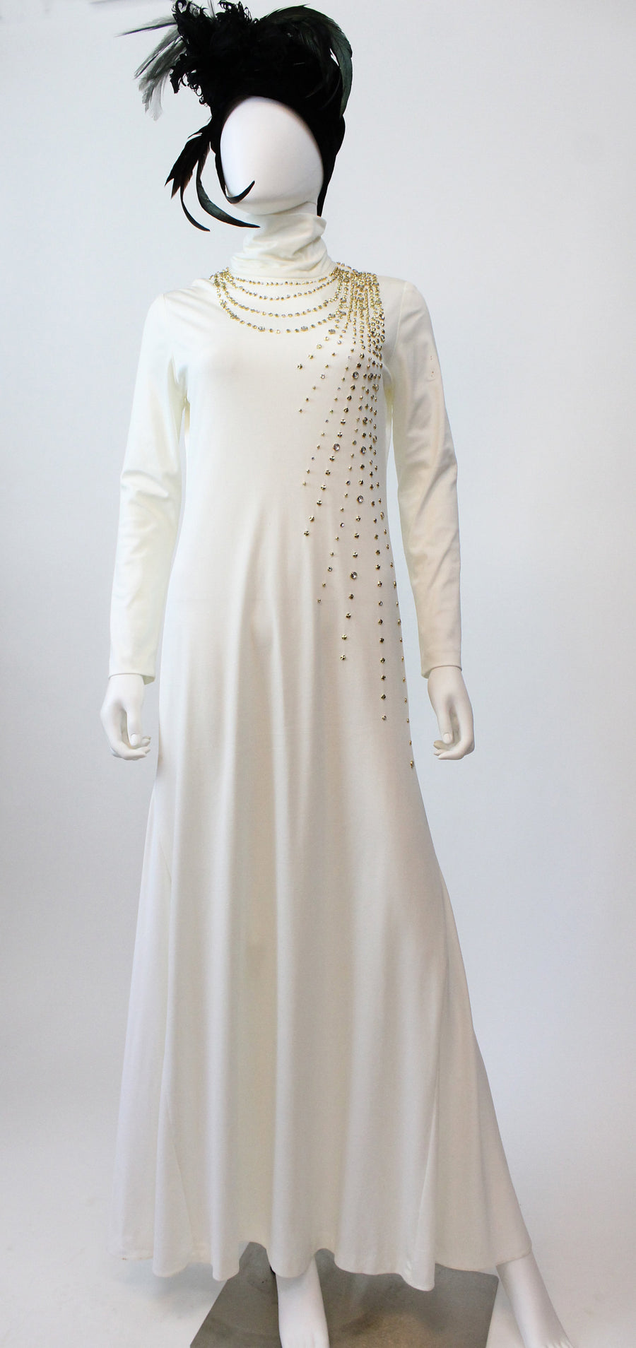 1970s STUDS and rhinestones gown dress medium large | new fall