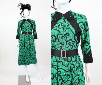 1940s green squiggle print dress xs | vintage rayon dress | new in