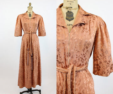1940s embossed rayon robe small | vintage lingerie dressing gown | new in