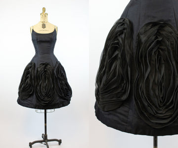 1950s silk organza rosette dress xs | vintage rhinestone cocktail dress | new in