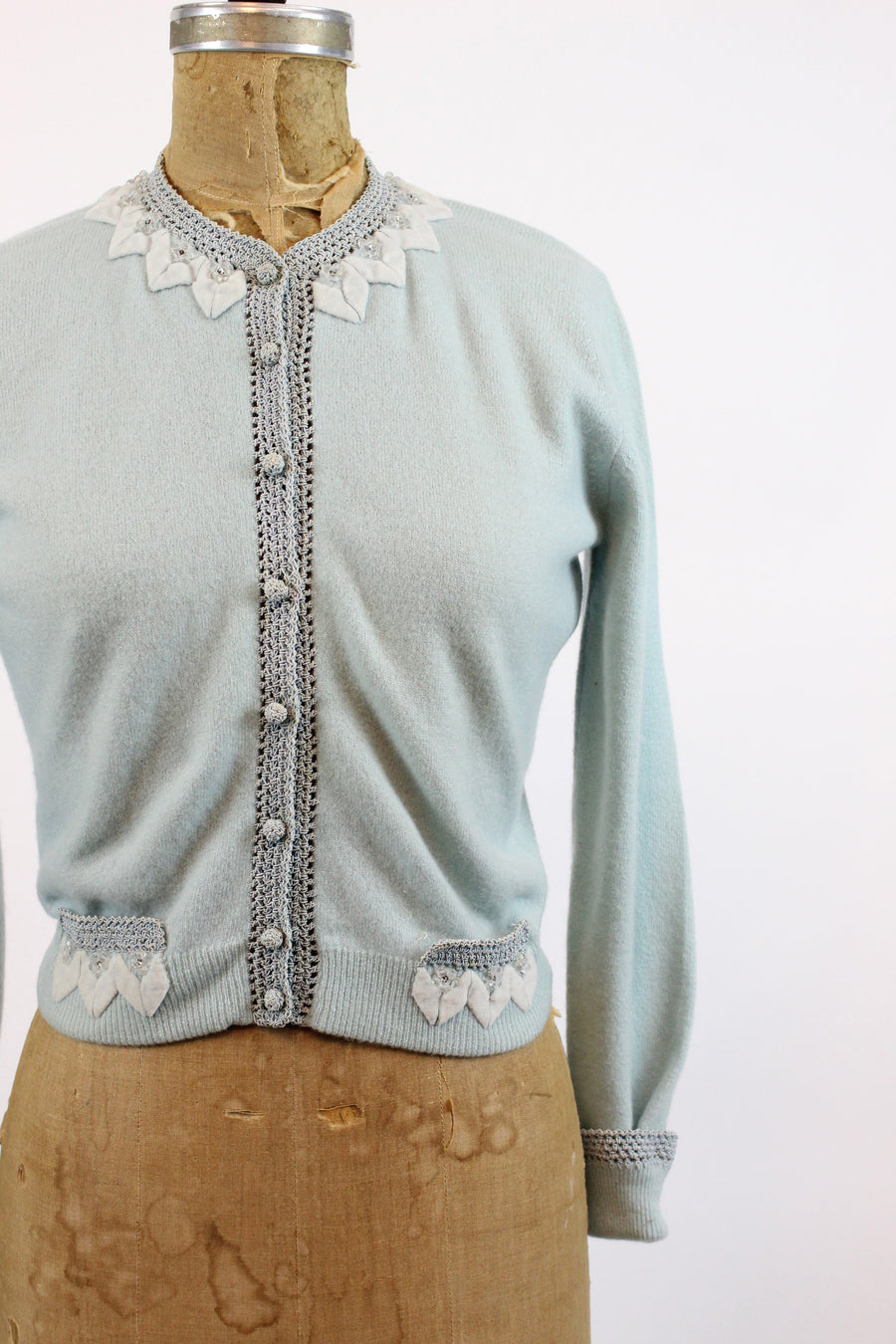 1950s cashmere cardigan xs small | vintage beaded sweater | new in