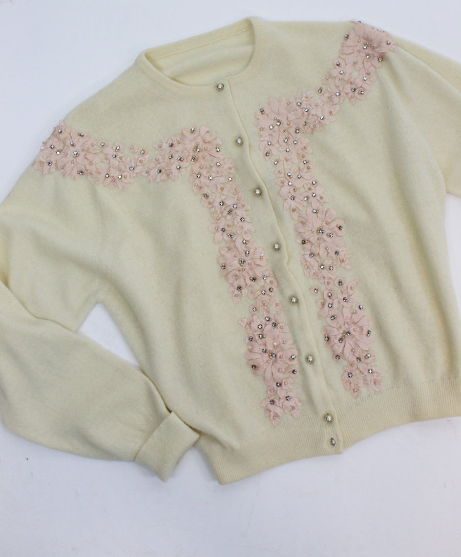 1950s cashmere cardigan small | vintage beaded sweater | new in