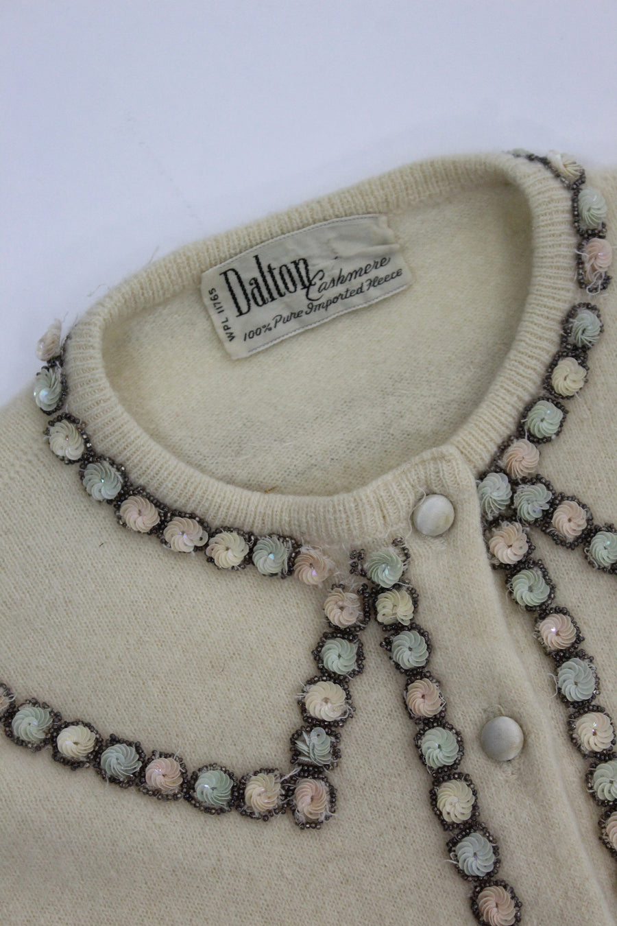 1950s Dalton cashmere cardigan small | vintage beaded sweater | new in