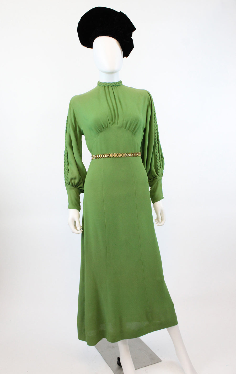 1930s slit sleeve green dress small | vintage braided gown | new in