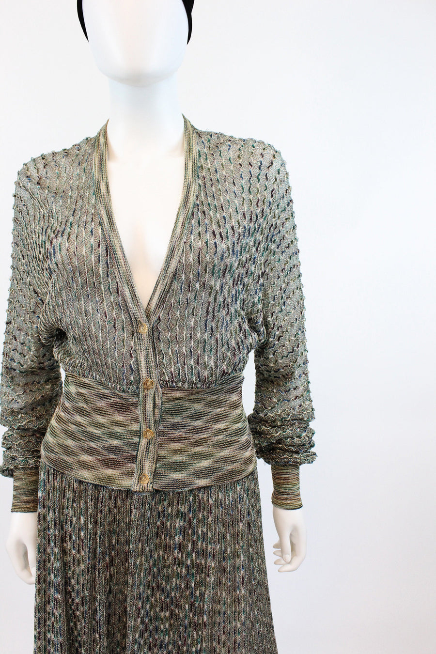 1980s Missoni knit dress small medium | vintage lurex sweater and skirt two piece | new in