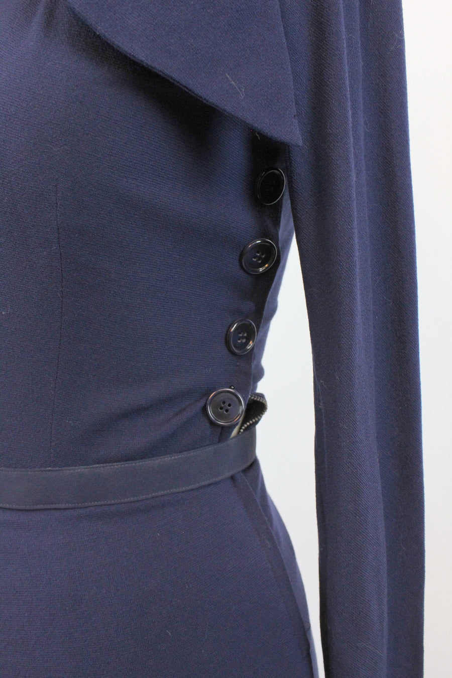 1940s navy wool peplum dress knit medium  | vintage button dress | new in