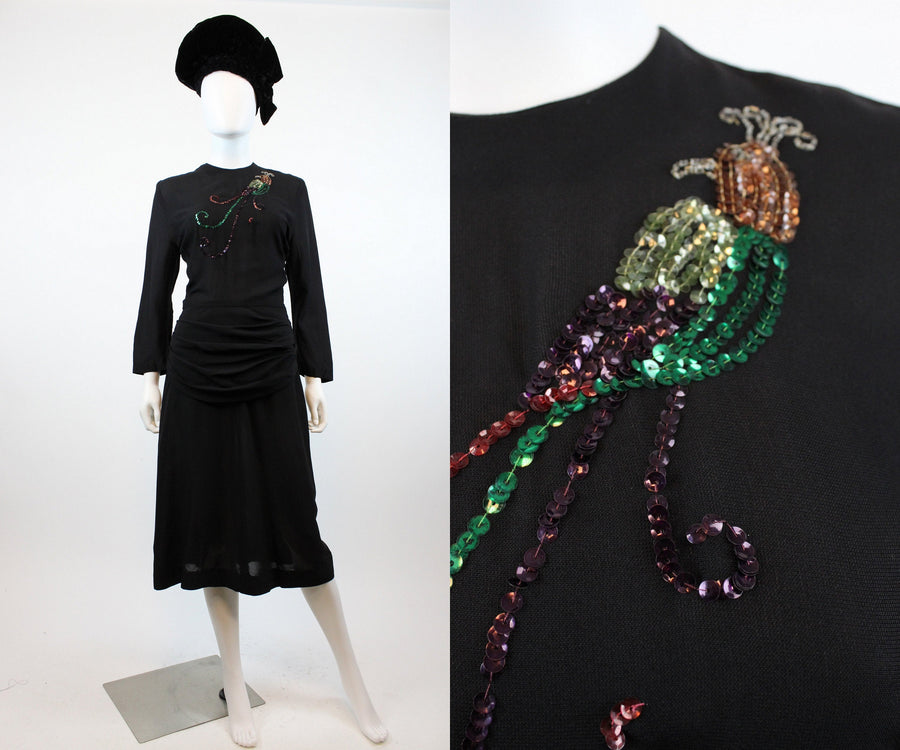 1940s sequin peacock bird dress small | vintage rayon dress | new in